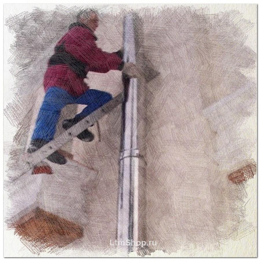 схема монтажа дымохода через потолок